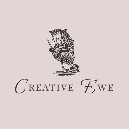 Crochet logo with the title 'Logo for Creative Ewe'