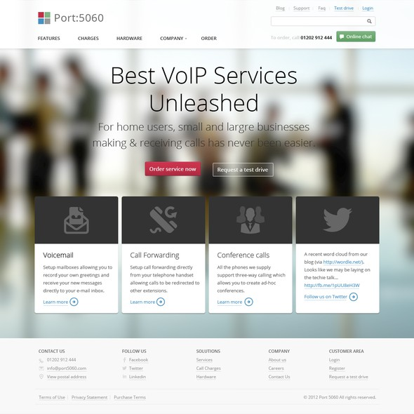 Corporate website with the title 'Website design for new VoIP brand'
