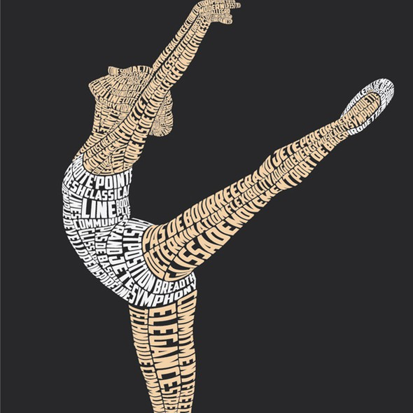Ballet design with the title 'Ballerina Typography'