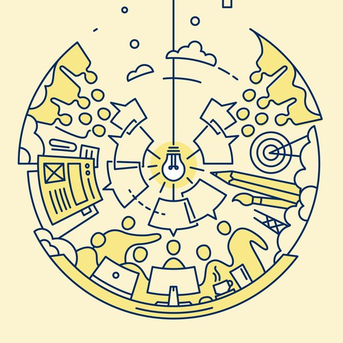 """Line illustration with the title 'Illustration for """"Unity and Inclusivity within a Design Community""""'"""