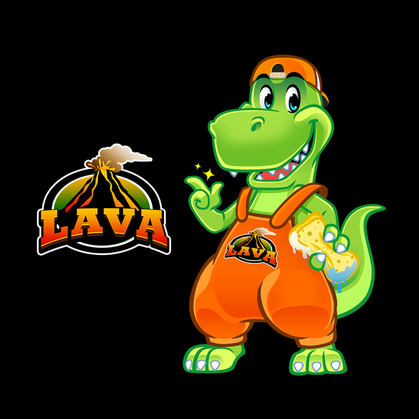 T-rex design with the title 'Approachable and Friendly Character/Mascot Logo for a Car Wash Company'
