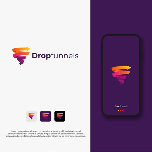 Funnel design with the title 'dropfunnels'