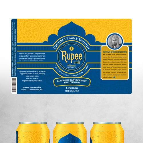 Yellow label with the title 'Beer label design'