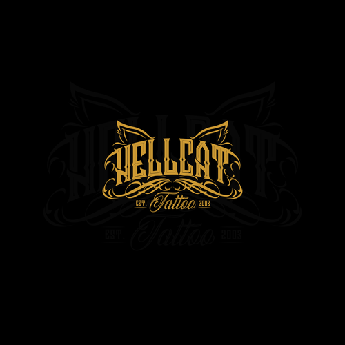 Tattoo logo with the title 'logo concept for hellcat tattoo studio'