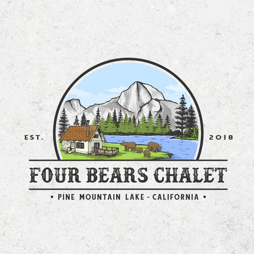 Pine tree logo with the title 'Four Bears Chalet'