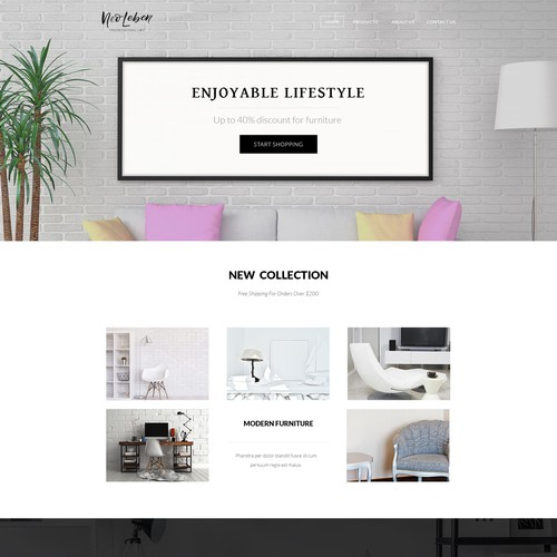 Beautiful website with the title 'Design Entry For a Online Shop'