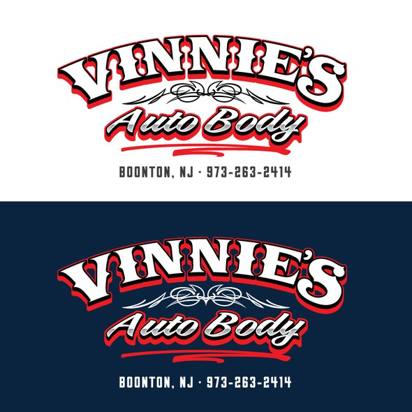 Hot rod design with the title 'Retro-inspired logo for a New Jersey body shop'