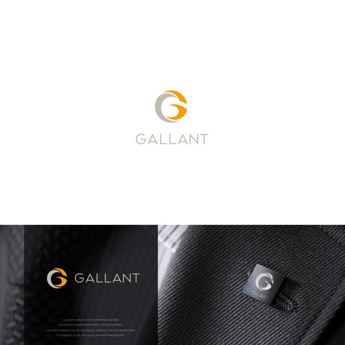 """Gray and purple logo with the title 'letter """"G"""" concept  Gallant'"""