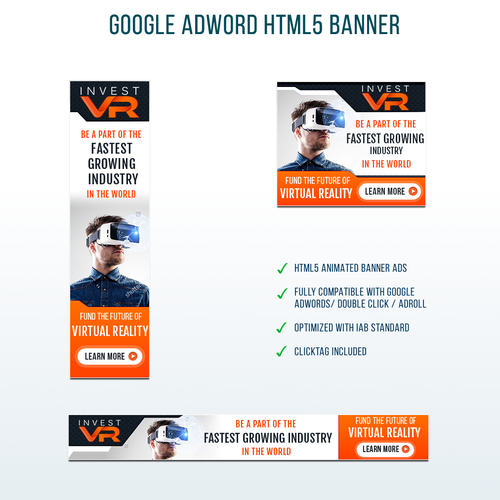 HTML5 design with the title 'Interactive Virtual Reality Banner ads'