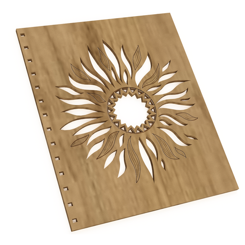 Sun illustration with the title 'Design for a wooden cover.'