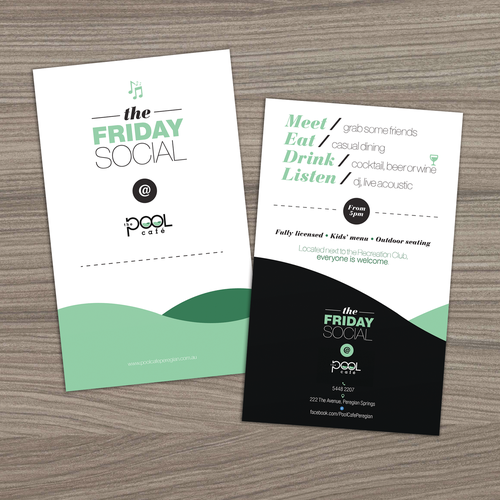 Mint design with the title 'Friday Social'