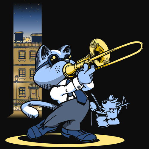 Cat t-shirt with the title 'Jazz Trombone Cat'