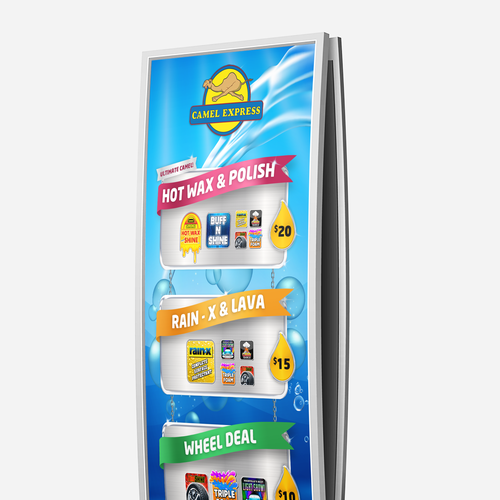 Car wash design with the title 'Car wash menu'