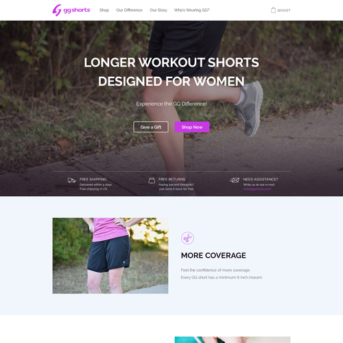 Women website with the title 'GG Shorts'