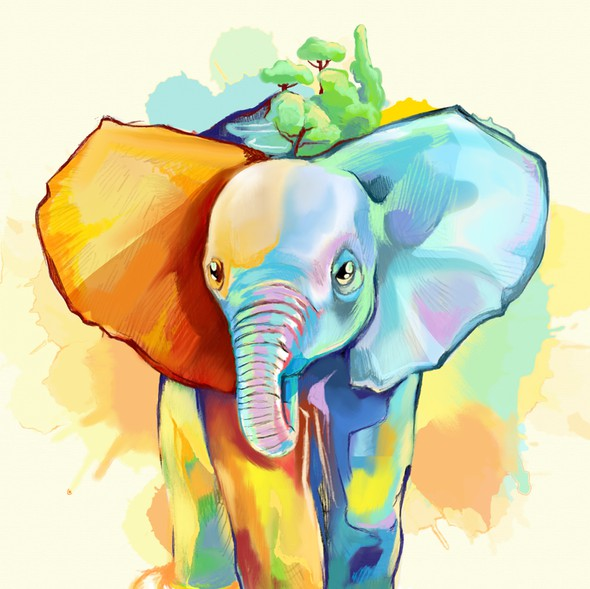 Oil painting design with the title 'Elephant Art'