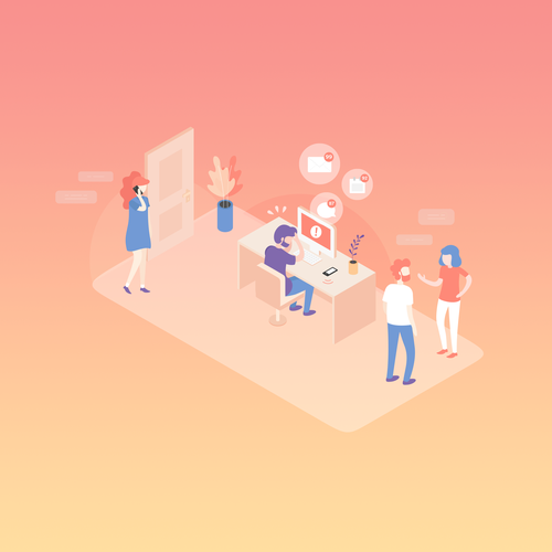 Office artwork with the title 'Illustration for a Productivity App Homepage'