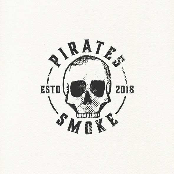 Tobacco logo with the title 'Pirate skull logo for smoke shop.'