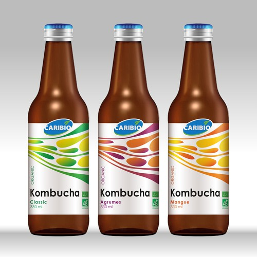 Fresh label with the title 'Label design for Kombucha organic'