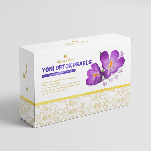 Purple packaging with the title 'Beautiful Design for Feminine Care Products contest entry'