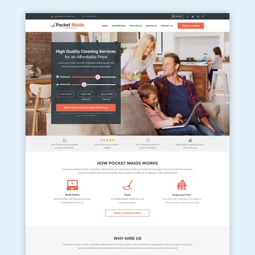 Homepage website with the title 'HomePage for a Cleaning Service'