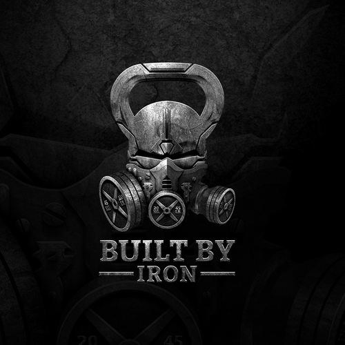 Kettlebell logo with the title 'BUILT BY IRON'