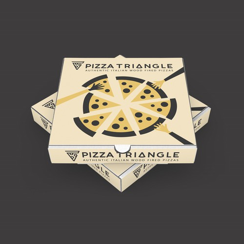 Pizza box design with the title 'Pizza Triangle - Authentic Italian Wood fired Sourdough Pizza'