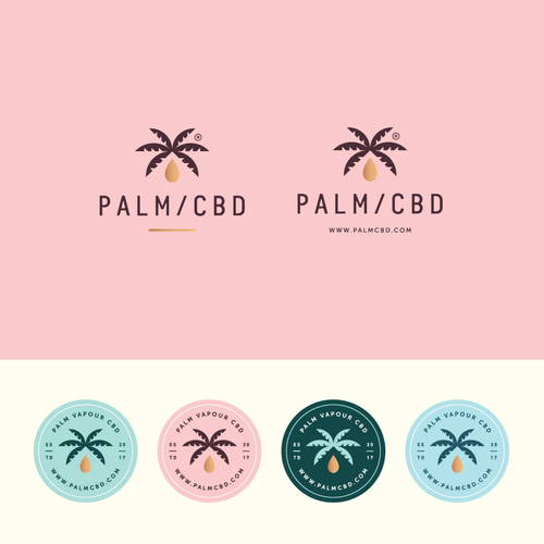 Feminine design with the title 'PALM/CBD'