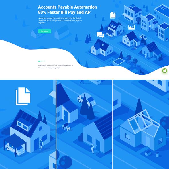 Home illustration with the title 'Real Estate Website Illustration'
