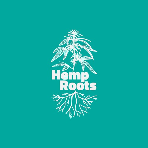 Green illustration with the title 'Roots Logo Design'