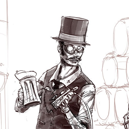 Sketch artwork with the title 'Steampunk Brewery'