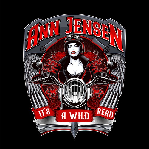 Biker design with the title 'Design Motorcycle Club Romance Author Branding'