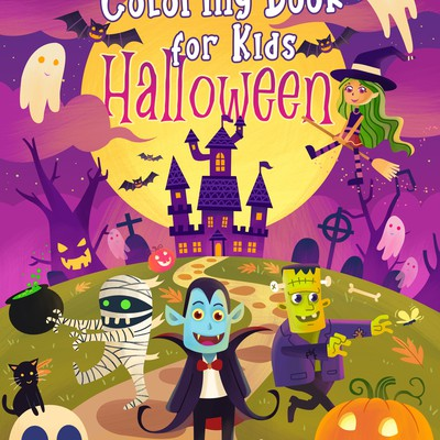 Coloring book cover for Halloween