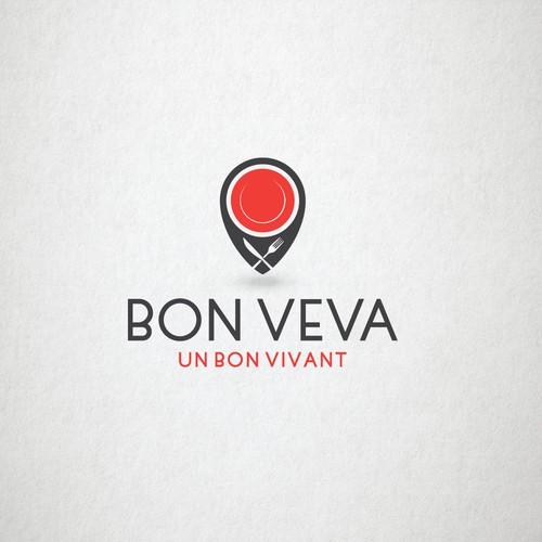 Location pin logo with the title 'Logo design for Bon Veva'