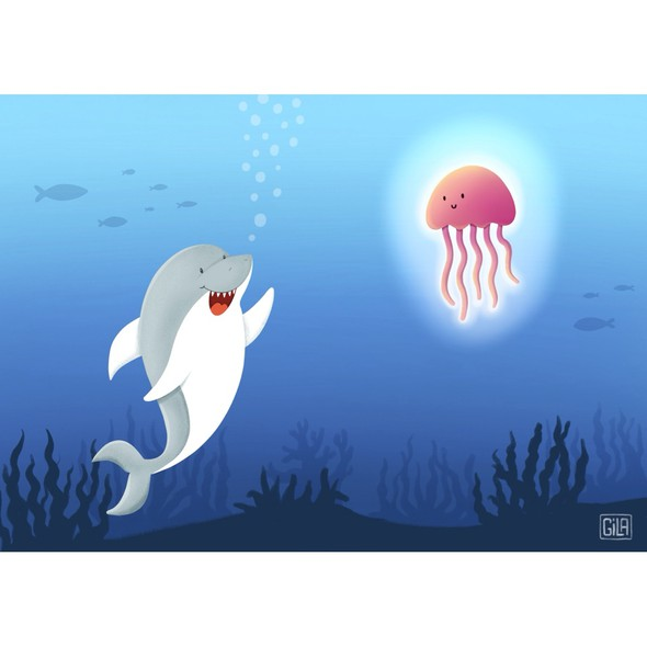 Jellyfish design with the title 'Shark illustration - Children's Book'