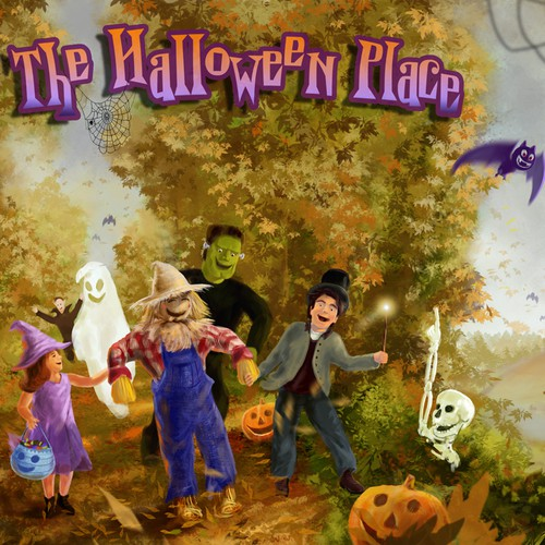 Autumn design with the title 'A fun, kid-friendly Halloween scene for new website'
