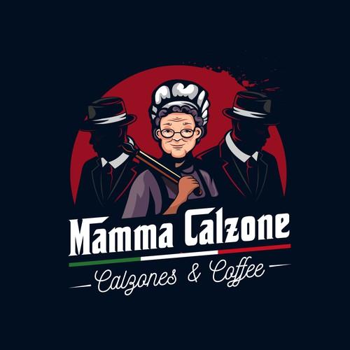Mafia logo with the title 'Mama Calzone'