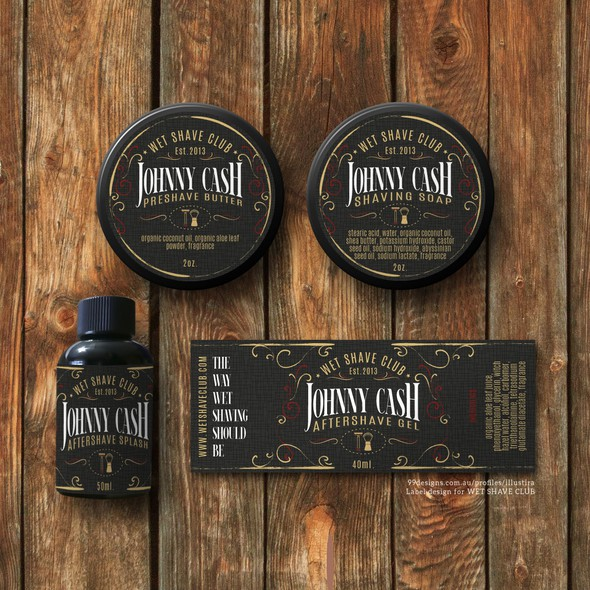 Classy label with the title 'Classy & Vintage Product Label Design for Wet Shave Club'