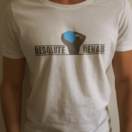 Flat t-shirt with the title 'T-Shirt Design and Logo for Physical Therapy Company'