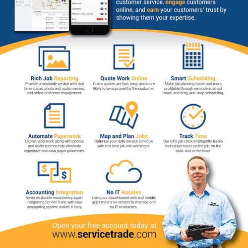 Report design with the title 'ServiceTrade two-page print ad spread'