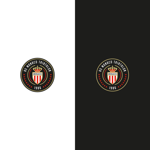 Round design with the title 'Clean, minimal, circular logo for AS Monaco Triathlon'