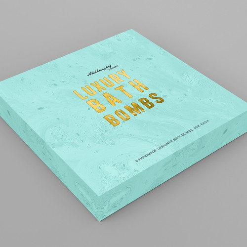 Bath packaging with the title 'Design for the box top of a luxury bath bomb gift set'