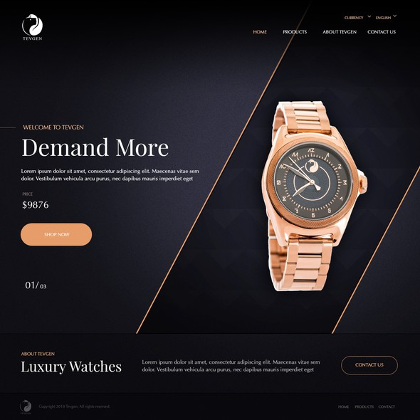 Luxury website with the title 'Website for Watch Brand'