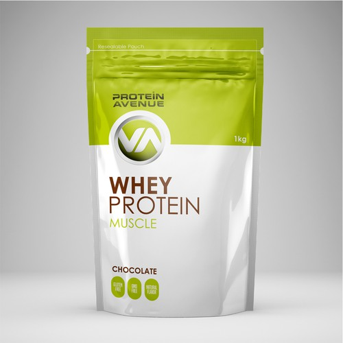 Protein packaging with the title 'Packaging for whey protein'