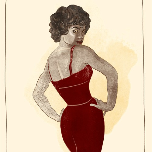 Artist illustration with the title 'Retro/Hollywood Glam Woman Illustration'