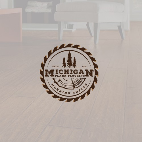 """Saw blade logo with the title 'Logo for """"Michigan Plank Flooring""""'"""