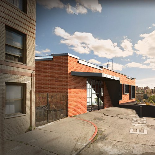 Architecture illustration with the title '3D Model + Rendering +photo-montage of homeless shelter'