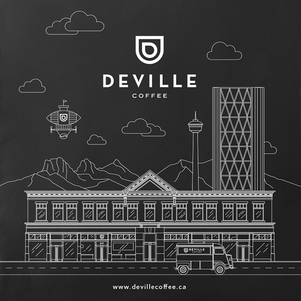 Black packaging with the title 'deville coffee calgary'