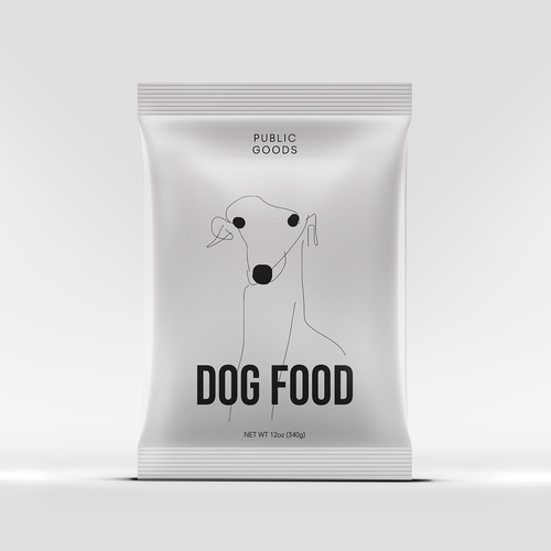 Dog food packaging with the title 'Packaging design concept for pet food'