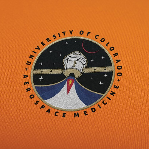 Spaceship logo with the title 'Mars Mission Patch'
