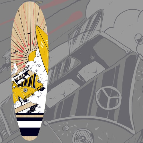 Skateboard design with the title 'Beach Junkies'